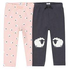 106f6b5bab588 Lot de 2 leggings moutons 1 mois - 3 ans La Redoute Collections rose + gris