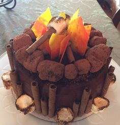 """Campfire cake by Stacey Cakes. """"Rocks"""" are truffles."""