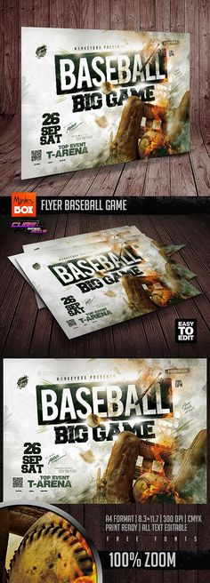 Buy Flyer Baseball Game by MonkeyBOX on GraphicRiver. Flyer Baseball Game: Easy-To-Edit Sports Flyer, Games Box, Baseball Games, Print Format, Web Design, Horde, Softball, Flyers, Glove