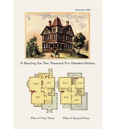 A Dwelling for Two Thousand Five Hundred Dollars is part of home Illustration Exterior - American Architecture of the Victorian Period with an illustration of the home's exterior and a two floor architectural plan and layout Sims House Plans, Ranch House Plans, Craftsman House Plans, Country House Plans, House Floor Plans, Country Homes, Victorian House Plans, Vintage House Plans, Modern House Plans