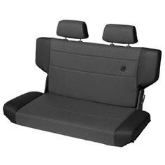 Bestop® TrailMax™ II Fold & Tumble Rear Bench Seat in Black Denim Fabric for 97-06 Jeep® Wrangler TJ
