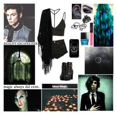 """""""☾ And I've tried to wash you away but you just won't leave. So won't you take a breath and dive in deep, 'Cause I came here so you'd come for me. I'm begging you to keep on haunting, I know you're gonna keep on haunting me ☾"""" by blueknight ❤ liked on Polyvore featuring Oh My Love, True Decadence, NARS Cosmetics, Butter London and Reverie"""