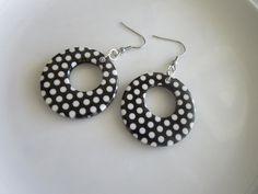 Round polka dot earrings polka dot dangle white polka dot