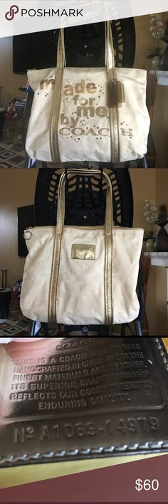 Authentic Coach tote Has some soil areas very minimal. See pics.  Approx  H11' L15' W4'     Creed A1069-14979   Gold yellow color Coach Bags Totes