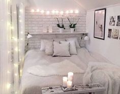 trendy bedroom ideas for small rooms for adults on a budget Bedroom Decor For Teen Girls, Teen Girl Bedrooms, Trendy Bedroom, Home Decor Bedroom, Decor Room, Girl Rooms, Wall Decor, Brick Bedroom, Small Room Bedroom