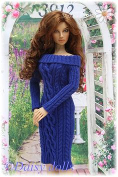 Knitted dress with cables for Cristy Stone Gracelyn doll #cristystone #bjd #swishandswirl