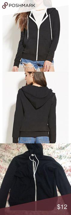 Black zip up hoodie Black zip up hoodie in great condition Forever 21 Tops Sweatshirts & Hoodies