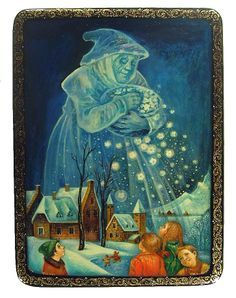 Grandmother Winter (2009) Russian Lacquer box from Palekh by Tatyana Smirnova