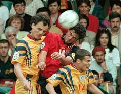 Spain 2 Romania 1 in 1996 at Elland Road. Kiko gets himself sandwiched as he jumps for the ball in Group B at Euro '96.