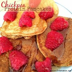 Ripped Recipes - Chickpea Protein Pancakes - The chickpea flour resulted in a fantastic cake-y texture and the flavor didn't overwhelm at all!  I added vanilla rice protein powder for a little more of a protein punch.