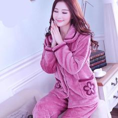 cbc5698432 Sexy Green Winter Female Pajama Thick Flannel Flower Print Warm Pajama Set  Long Sleeve Full Trousers Two Piece 2018 Top Fashion