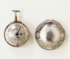 This watch has inner and outer cases of engraved silver, which are pierced to allow the sound of the bell in the inner case to be heard. It repeats the quarters when the pendant is pressed down. The maker, Daniel Quare (1648-1724), worked in London at St Martin's le Grand, and later, by 1680, at the King's Arms, Exchange Alley. He was one of the outstanding clockmakers and watchmakers of the generation in which London watchmaking established a leadership in Europe.