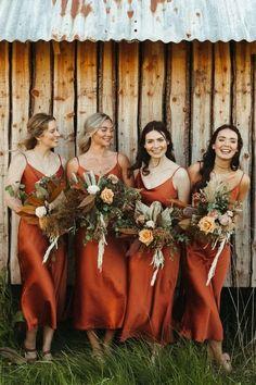 Burnt Orange Bridesmaid Dresses, Burnt Orange Weddings, Satin Bridesmaid Dresses, Fall Bridemaids Dresses, Orange Wedding Dresses, Bridesmaid Dresses Different Colors, Wedding Orange, Burnt Orange Dress, Burnt Orange Color