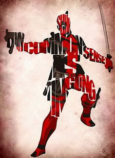 """Shhh...My common sense is tingling!"" Deadpool Typographic Poster - Take that Spidey senses! // by GeekMyWalL on Etsy, $25.00"