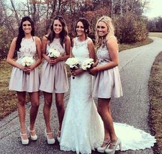 those bridesmaids dresses would be cute long... and those heels look uncomfortable