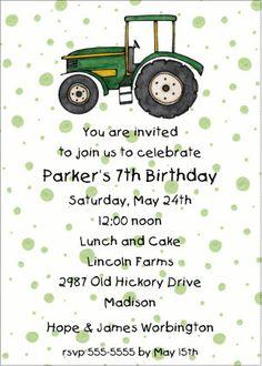 Simple John Deere tractor invite