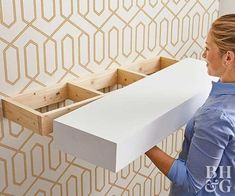 How to Build Floating Shelves Make this minimalist storage solution for your next weekend project. How to Build Floating Shelves Make this minimalist storage solution for your next weekend project. Furniture Layout, Furniture Arrangement, Diy Furniture, Basement Furniture, Bedroom Furniture, Entryway Furniture, Furniture Removal, Office Furniture, Furniture Design
