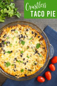 This gluten free crustless taco pie is a great low carb alternative to a Mexican quiche. The flavor is amazing, and nobody will miss the crust! Easy Crustless Quiche Recipe, Quick Quiche, Quiche Recipes, Mexican Food Recipes, Real Food Recipes, Cooking Recipes, Yummy Food, Lower Carb Meals