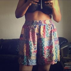 Oversized High Waist Vintage Print Shorts Cute. Relaxed, colorful shorts with pockets. These shorts are labeled a size 2X. I wear a 12. I've worn them over the waist with a basic cropped white tee & long loose tank top. Super comfy! Shorts