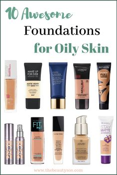 Foundation for oily skin & Drugstore foundation & Best foundation for oily skin & Makeup products for beginner & Makeup tips The post Top 10 Foundations for Oily Skin (Drugstore and High-end appeared first on Trendy. Oily Skin Makeup, Oily Skin Care, Makeup Dupes, Eye Makeup, Dry Skin, Makeup Brushes, Moisturizer For Oily Skin, Beauty Makeup, Oily Skin Remedy