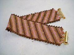 Diagonal Stripes Bracelet, Miyuki Delica Bracelet, handmade bracelet, diagonal pattern, peyote jewelry, Delica bracelet, flat bracelet - pinned by pin4etsy.com