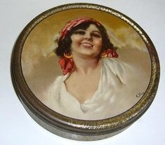 1920s Spanish lady biscuit tin