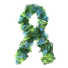 Green and Blue Ruffle Scarf. £12.00