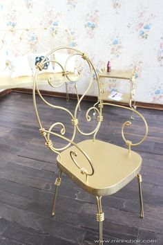 vintage chairs 3 metal gold doll house miniature furniture