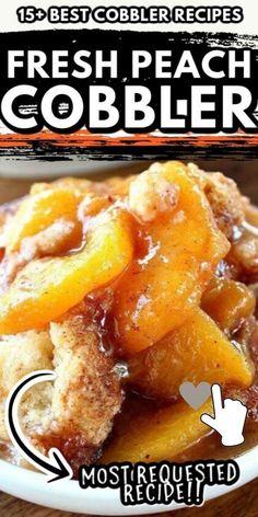 Good Peach Cobbler Recipe, Best Peach Cobbler, Homemade Peach Cobbler, Southern Peach Cobbler, Peach Cobbler Cake, Fruit Recipes, Dessert Recipes, Cooking Recipes, Pie Recipes