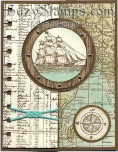 Stampin' Up! Cards - 2015-07 Class - The Open Sea, Hardwood and World Map stamp sets, Circle Card Thinlits Die