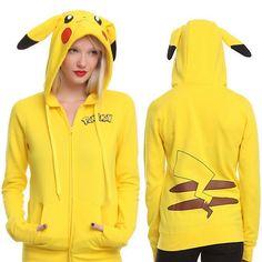 Yellow Solid Pokemon Pikachu Printed Costume Tail Zip Totoro Hoodie Sweatshirt