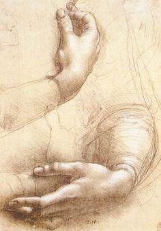 Leonardo da Vinci's 'Study of Hands': Leonardo da Vinci, Study of Hands, 1474. Silverpoint and white highlights on pink prepared paper. 8.43 x 5.91 in. Royal Library, Windsor, UK.