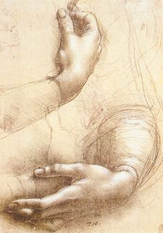 Leonardo da Vinci's 'Study of Hands': Leonardo da Vinci, Study of Hands, 1474. Silverpoint and white highlights on pink prepared paper. 8.43 x 5.91 in. Royal Library, Windsor, UK.