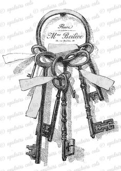 Vintage Keys with Ribbon and French Label Clipart by UpstairsCats