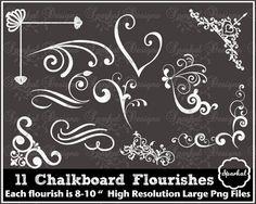 Chalkboard Clipart Chalkboard Flourishes by SparkalDigitalDesign, $6.00