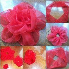 DIY Big Silk Ribbon Rose
