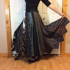 Black NeckTie Long Maxi Skirt/Steampunk Skirt/Silk Ties