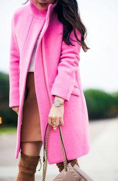 Statement Bright Pink Coat by Dallas fashion blogger cute & little #stuartweitzmanhighland