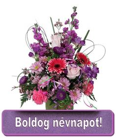 A delightful assortment of pink, purple and mauve flowers are arranged for same day delivery. Suitable for any occasion or sentiment. Flowers Canada, Name Day, Happy Birthday Greetings, Container Flowers, Floral Wreath, Pink, Teak, Flowers, Saint Name Day