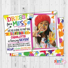 Dress for a Mess Invitation, Art Party Invitation with Photo, Paint Party Invitation with Photo, Painting Party Birthday Invite Printable Art Party Invitations, Kids Birthday Party Invitations, Art Birthday, Digital Invitations, Printable Invitations, Party Printables, Printable Art, Invites, Paint Party