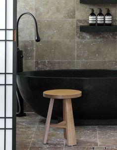 minimal bathroom - natural - black tub