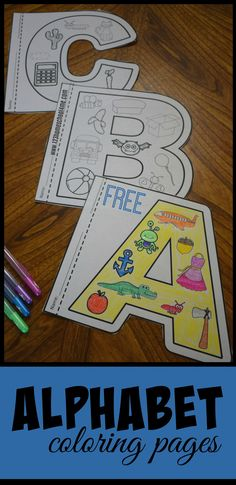 FREE Alphabet Coloring Pages - this are such fun to color alphabet worksheets that help kids not only learn their letters but the sounds they make. You can use them with a letter of the week curriculum, as anchor charte, summer learning, alphabet posters, Preschool Literacy, Preschool Letters, Learning Letters, In Kindergarten, Preschool Crafts, Kids Learning, Kindergarten Worksheets, Preschool Worksheets Alphabet, Learning Colors