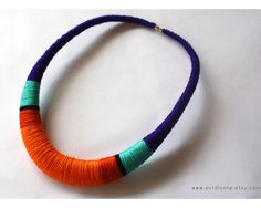 Violet and orange necklace - statement necklace - colorful crochet