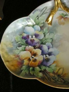 Signed Limoges Finial Handled Tray with PANSIES