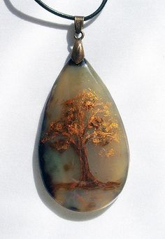 OOAK pendant painted gemstone agate Hand painted jewelry Agate pendant with gold tree Painted stone