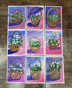 No photo description available. Spring Art Projects, Cool Art Projects, Art Drawings For Kids, Art For Kids, Kids Art Galleries, 2nd Grade Art, Easter Art, Art Lessons Elementary, Preschool Art