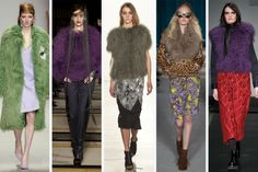London fashion week trends, fall 2015. Mongolian fur. From left to right: Holly Fulton, Ashley Isham, Sass and Bide, Matthew Williamson and House of Holland