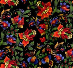 fabric - Kiev Floral on Black by Elizabeth's Studio Fabrics Striking and brightly colored flowers in rich reds and blues against a black background. It reminds us of the beautiful handpainted floral prints found on Russian nesting dolls. Part of the