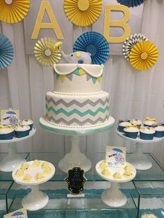 Elephant baby shower party cake and cupcakes! See more party ideas at CatchMyParty.com!