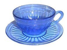 Aurora Pattern. Hazel Atlas.Although limited in pieces, Breakfast sets were a common Hazel Atlas production line. Cup and saucer.